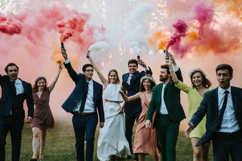 Mariage à La Baratonne, fumigènes, moderne, fun